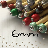 Wholesale 6mm (us size 10) 1 Pair Beaded Knitting Needles Unmarked
