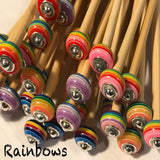 3mm (US size 2) 1 Pair Beaded Bamboo Knitting Needles/Crochet Hook