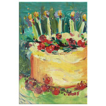 "Load image into Gallery viewer, Peacock Blue Kitchen Cake on 1.25"" Wrapped Canvas"