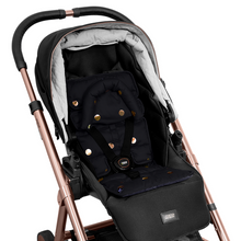 Load image into Gallery viewer, Pram Liner with built in head support - Black/Gold Spots - Outlook Baby