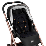 Pram Liner with built in head support - Black/Gold Spots - Outlook Baby