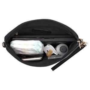 VANCHI Cross Body Clutch - Black (Gold Hardware) | Vanchi Nappy Bags | Premium Nappy Bags | For Style Savvy Mums