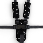 3 Piece Harness Cover Set - Black with White Swallows - Outlook Baby