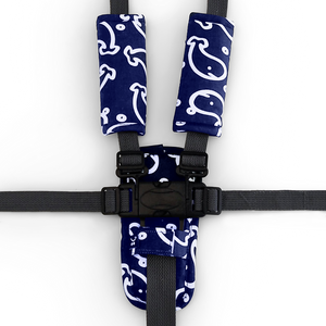 3 Piece Harness Cover Set - Navy Whales - Outlook Baby