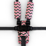 3 Piece Harness Cover Set - Pink/Charcoal Chevron - Outlook Baby