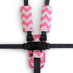 3 Piece Harness Cover Set - Pink Chevron - Outlook Baby