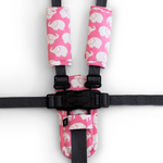 3 Piece Harness Cover Set - Pink Elephants - Outlook Baby