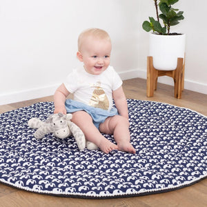 Baby Play Mat (Waterproof Backing) - Navy Elephant - Outlook Baby