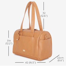 Load image into Gallery viewer, VANCHI Maya Holdall Nappy Bag - Camel Dimensions
