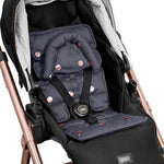 Pram Liner with built in head support - Charcoal/Rose Gold Spots - Outlook Baby