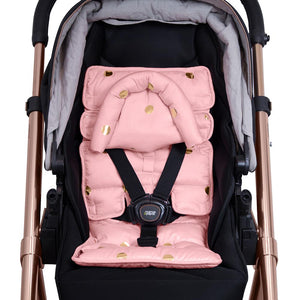 Pram Liner with built in head support - Peach/Gold Spots - Outlook Baby