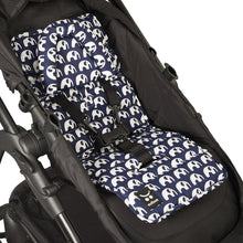 Load image into Gallery viewer, Pram Liner with built in head support - Navy Elephants - Outlook Baby