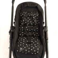 Load image into Gallery viewer, Pram Liner with built in head support - Black with White Swallows - Outlook Baby