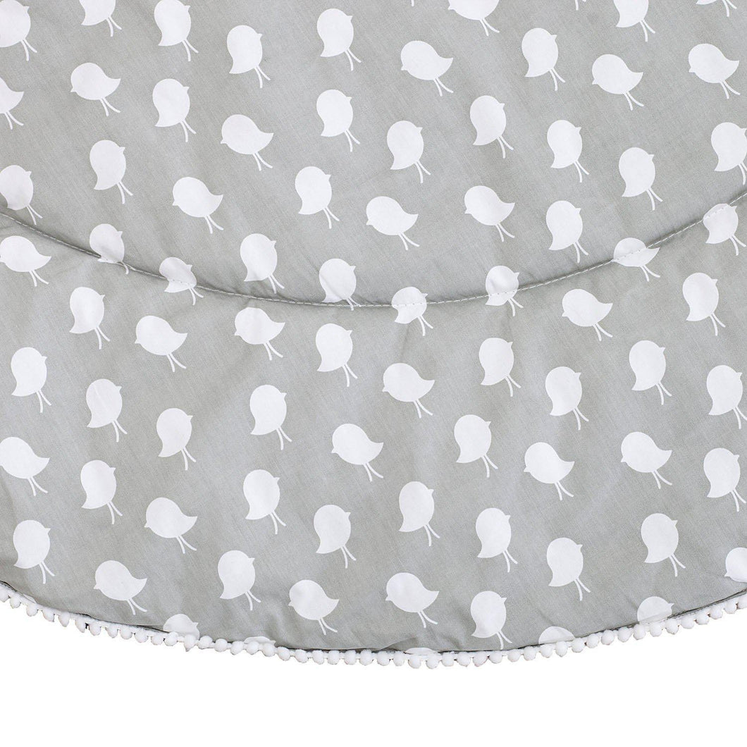 Baby Play Mat (Waterproof Backing) - Grey Birds - Outlook Baby