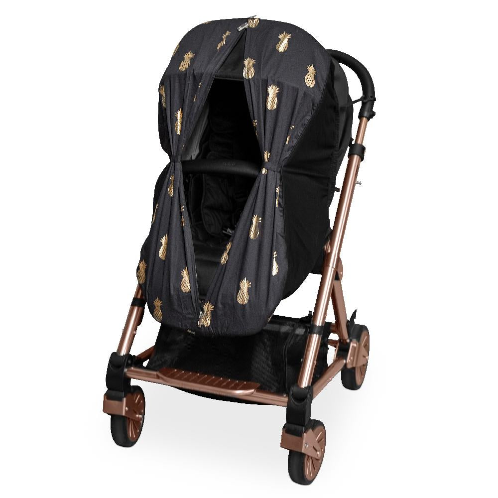 Foil Print Sleep Eazy - Black/Gold Pineapples - Outlook Baby