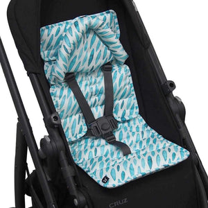 Pram Liner with built in head support - Teal Drops - Outlook Baby