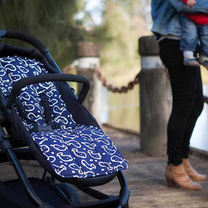 Pram Liner - Navy Whales - Outlook Baby