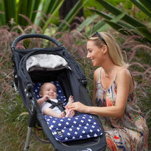 Load image into Gallery viewer, Pram Liner - Navy Crosses - Outlook Baby