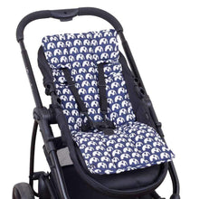 Load image into Gallery viewer, Pram Liner - Navy Elephants - Outlook Baby