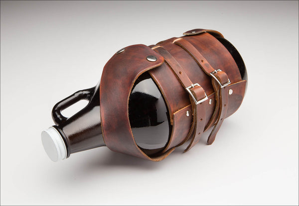 Dark Brown Leather Growler Carrier