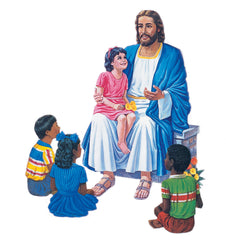 Jesus Seated with 4 Children