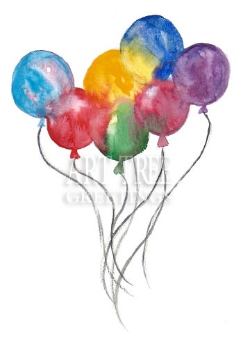 Watercolor Balloons: Printed All Occasion Greeting Card