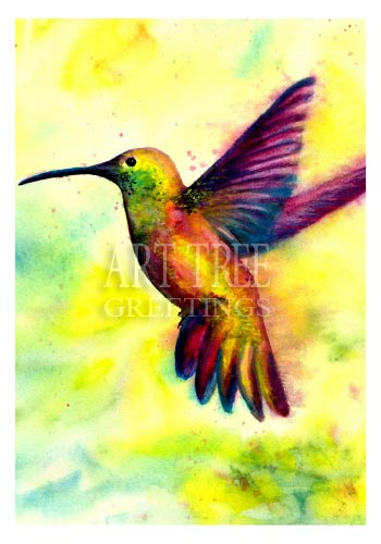 Hummingbird Watercolor: Blank Paper Card