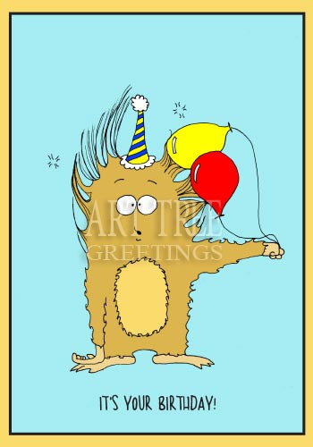 Fuzzy Monster with Static Electricity: Cute Paper Birthday Card