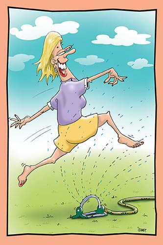 Woman Leaping Through a Sprinkler | Funny Birthday Card