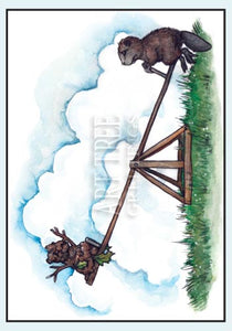 Beaver on Teeter Totter | Whimsical Miss You Card