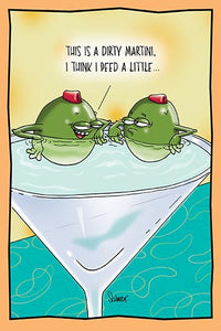 Olives Joking in a Dirty Martini | Hilarious Birthday Card