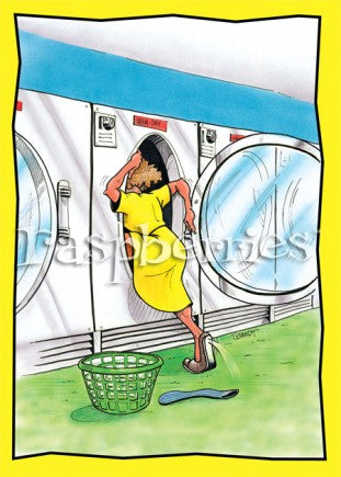 Woman Crawling into a Dryer: Funny Printed Birthday Card