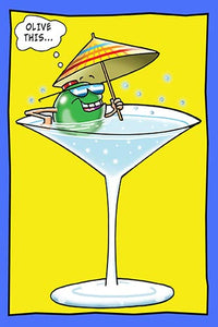 Olive Relaxing in a Martini Glass | Funny Birthday Card