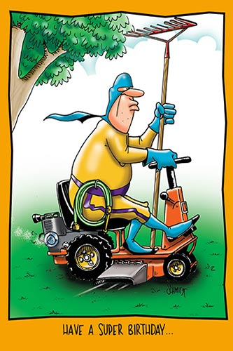 Lawn Mowing Super Hero | Funny Birthday Card for Men