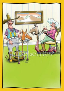 Horsey Walker: Cute Printed Greeting Card