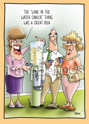 Wine in Water Cooler: Funny Work Related Paper Birthday Card
