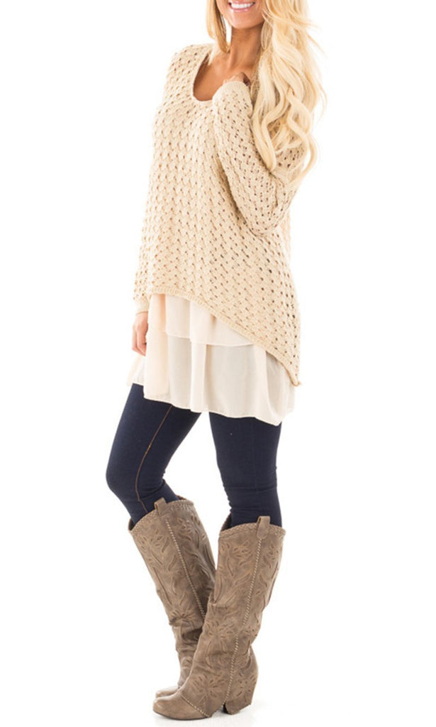 Jolimall Beige Coarse Weave V-neck Sweater