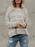 Jolimall Gray Long Sleeve Casual Striped Plus Size Sweater