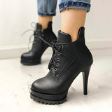 Jolimall Solid Lace-Up Eyelet Platform Thin Heeled Boots