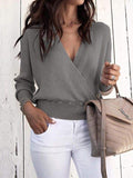 Jolimall Deep V Long Sleeve Pure Color Sweater