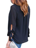 Jolimall Chiffon V Neck Ruffle Loose Fit Blouse Top Shirts - Jolimall