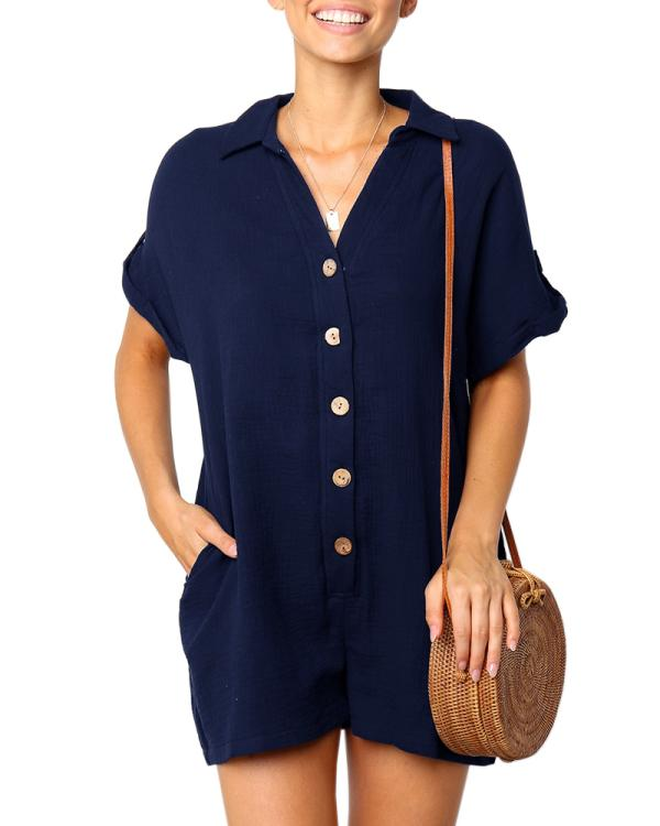 Jolimall T Shirt Button Down Short Rompers