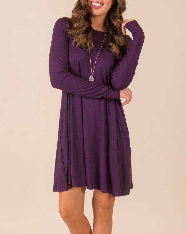 Jolimall Solid Long Sleeve Cotton Dress