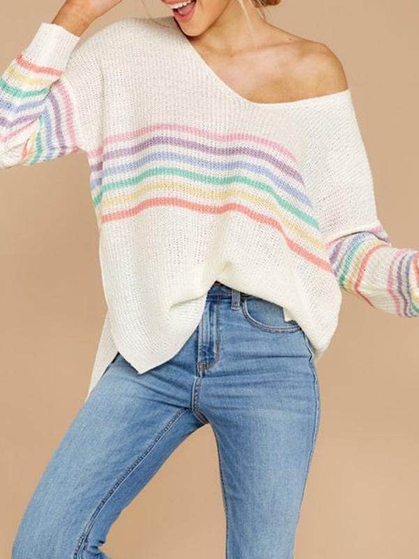 Jolimall Casual Color stripe V Neck Sweater