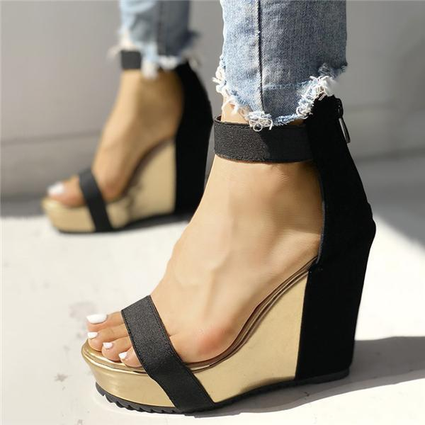 Jolimall Sexy Open Toe Back Zipper Wedges Sandals