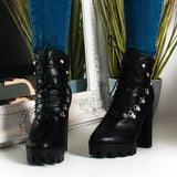 Jolimall Lace Up Platform Heeled Boots