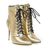 Jolimall Black Lace Up Boots Heels Ankle Shoes For Women