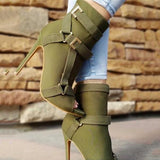 Jolimall New Design Women Fashion Peep Toe Suede Leather Stiletto Heel Short Boots