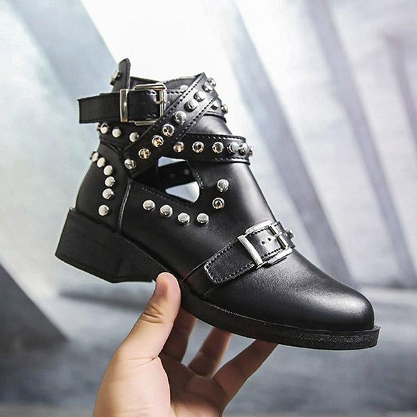 Jolimall Women Retro Rivet Motorcycle Leather Gothic Buckle Low Heel