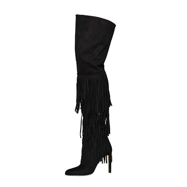 Jolimall Black Point Toe Over Knee High Boots With Tassels